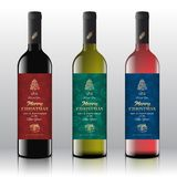 Christmas Greetings Wine Bottle Labels Concept. Red, White and Pink Wine Set on the Realistic Vector Bottles. Winter. Holidays Pattern Background with Hand stock illustration
