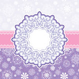 Christmas greetning card. Christmas greeting card with ornamental decorative snowflake Royalty Free Stock Photo