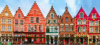 Christmas Grote Markt square of Brugge, Belgium Stock Photography