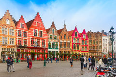 Christmas Grote Markt square of Brugge, Belgium. Stock Photography