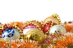 Christmas. group of balls and colorful beads Royalty Free Stock Images