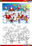 Christmas group coloring page stock illustration