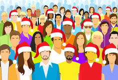 Christmas Group of People Wear Santa Hat Big Crowd. New Year Diverse Ethnic Flat Vector illustration Stock Photos