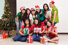 Christmas group shot of Asian people Royalty Free Stock Photo