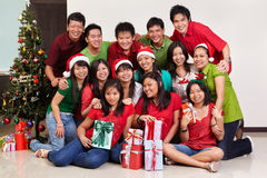 Christmas group shot of Asian people Royalty Free Stock Photography