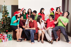 Christmas group shot of Asian people Royalty Free Stock Photos