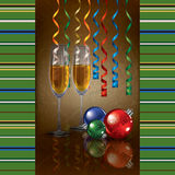 Christmas grunge greeting with champagne and decor Stock Images