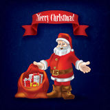 Christmas grunge greeting with Santa Claus. And gifts on blue Royalty Free Stock Image