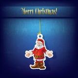 Christmas grunge greeting with Santa Claus. On blue Stock Photos