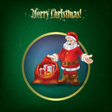 Christmas grunge greeting with Santa Claus. And gifts Royalty Free Stock Images
