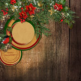 Christmas grunge wooden background with fir branches, bullfinch Stock Photos