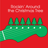 Christmas Guitar Background. Clever Christmas background closeup illustration in green of the headstock of a six-string electric guitar, with evergreen tree Stock Photos