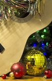 Christmas guitar tinsel balls stock images