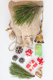 Christmas Gunny Sack with Colorful Presents Stock Images
