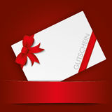 Christmas Gutschein Red Banner. German text Gutschein, translate Coupon on the red background Royalty Free Stock Photography