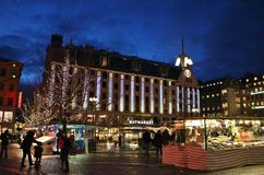 Christmas at Hötorget in Stockholm. Square trade and cozy Christmas atmosphere at Hötorget - the Haymarket - in Stockholm.n Royalty Free Stock Photos