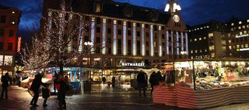 Christmas at Hötorget in Stockholm. Square trade and cozy Christmas atmosphere at Hötorget - the Haymarket - in Stockholm.n Stock Photos