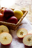 Christmas habits - cutting apples Royalty Free Stock Image