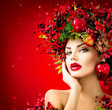 Christmas hairstyle and makeup Royalty Free Stock Photography