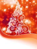 Christmas halftone tree on a orange EPS 8 Royalty Free Stock Photos