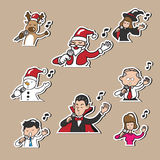 Christmas Halloween Business people singing Stock Images