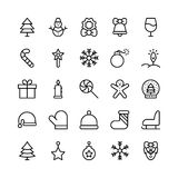 Christmas, Halloween, Party and Celebration Line Vector Icons Stock Image