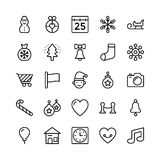 Christmas, Halloween, Party and Celebration Line Vector Icons 4 Stock Images