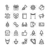Christmas, Halloween, Party and Celebration Line Vector Icons 7 Royalty Free Stock Photography