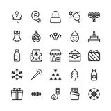 Christmas, Halloween, Party and Celebration Line Vector Icons 11 Royalty Free Stock Image