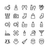 Christmas, Halloween, Party and Celebration Line Vector Icons 20 Royalty Free Stock Image