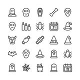 Christmas, Halloween, Party and Celebration Line Vector Icons 23 Royalty Free Stock Image