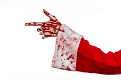 Christmas and Halloween theme: Santa Zombie bloody hand on a white background. Studio Royalty Free Stock Photo