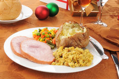 Christmas ham dinner. Christmas dinner with ham and stuffing Royalty Free Stock Photo