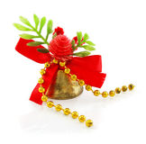 Christmas hand bell with red bow Stock Images