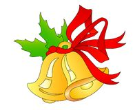 Christmas hand bells. Beautiful Christmas hand bells on a white background Vector Illustration