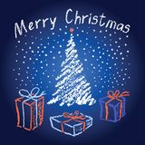 Christmas hand drawing background on blue dark and light. Falling snowflackes with christmas tree and box gift present. Royalty Free Stock Image