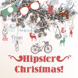 Christmas hand drawn background Xmas decorations. Hipster style. Christmas hipster background with Xmas tree branches bicycles deer and hipster things vector illustration