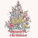 Christmas hand drawn background Xmas decorations. Hipster style Royalty Free Stock Photos