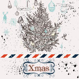 Christmas hand drawn background Xmas decorations and tree Royalty Free Stock Image