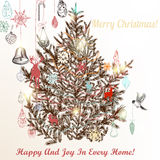 Christmas hand drawn background Xmas decorations and tree Stock Images