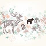 Christmas hand drawn background Xmas decorations Royalty Free Stock Image