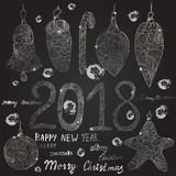 Christmas hand drawn balls, toys.Inscriptions: Happy New Year and Merry Christmas. Christmas hand drawn balls, toys in silver. Inscriptions: Happy New Year and Royalty Free Stock Photo