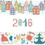 Christmas hand drawn border. Vector illustration. Royalty Free Stock Photo