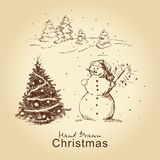Christmas hand drawn card. With snowman and christmas tree, for xmas design vector illustration