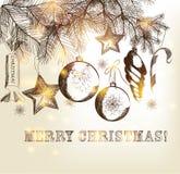 Christmas  hand drawn card Royalty Free Stock Photography