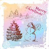 Christmas hand drawn card. Christmas Hand Drawn Illustration With Snowman And Christmas Tree, for xmas design. Vector Eps 10 stock illustration