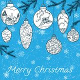 Christmas hand-drawn card Royalty Free Stock Image