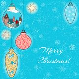 Christmas hand-drawn card with balls and stars. Christmas hand-drawn card with filigree balls Royalty Free Stock Image