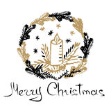 Christmas hand drawn card. Christmas candle, snowflakes, fir branch, wreath. Vector illustration. Hand written words Merry Christmas royalty free illustration