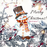 Christmas hand drawn card with fur branches, snowmen and decorat Royalty Free Stock Image